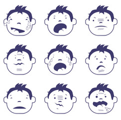 Bad emotions faces vector characters. Set of sad icons.