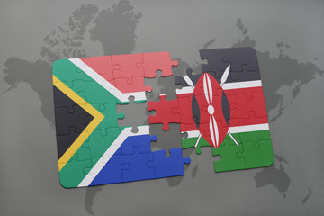 puzzle with the national flag of south africa and kenya on a world map.