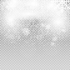 Falling Shining Snowflakes and Snow on Transparent Background. Christmas, Winter  New Year . Realistic Vector illustration for Your Design