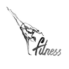 Watercolor fitness logo illustration with hand written calligraphy lettering inscription.