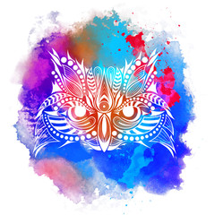 Patterned colored head of the owl. African, indian, totem, tattoo design. It may be used for design of a t-shirt, bag, postcard and poster. Abstract Background with Watercolor Stains, Vector Design