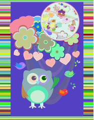 owl in love and bird with flowers textile stickers