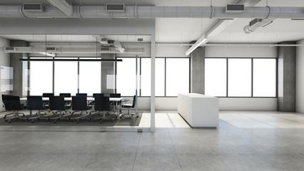 Office reception design modern & Loft - 3D render