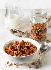 Homemade granola with nuts and raisins