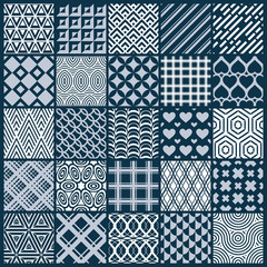 Vector graphic vintage textures created with squares, rhombuses