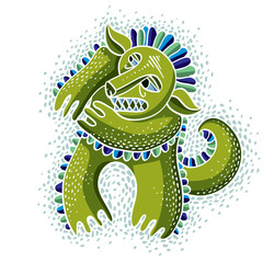 Obraz Character monster vector flat illustration, cute green mutant. D - fototapety do salonu