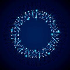 Vector abstract luminescent technology illustration, round blue