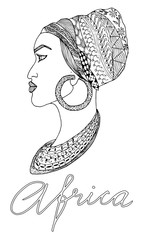 Hand-drawn african woman in sketch style with mehndi elements