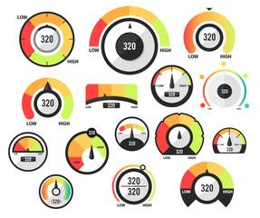 Speedometer icons or Circular gauges icons set