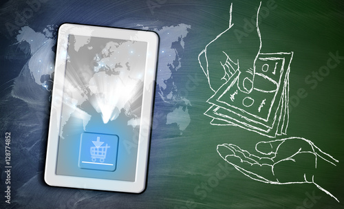 online shopping cart on tablet and pins around world map on chal