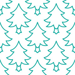 Doodle Christmas tree seamless pattern. hand drawn design element for greeting card, fabric, wrapping paper. Green line tileable background on white