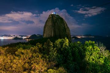 The landmark of Rio de janeiro - the Sugarloaf Mountain at night
