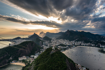 Wall Mural - Dramatic sunset in Rio de Janeiro view from the Sugarloaf Mountain