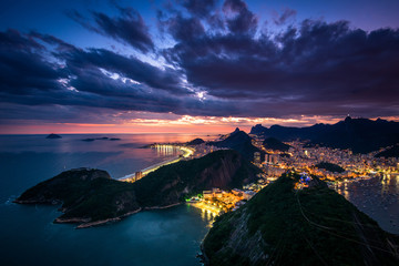 Wall Mural - Spectacular sunset over Rio de Janeiro, view from the Sugarloaf Mountain