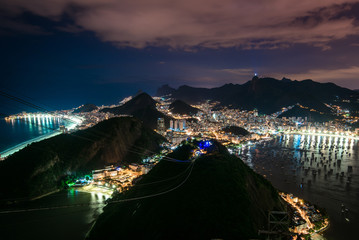 Wall Mural - Night view of Rio de Janeiro city from the Sugarloaf Mountain