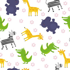 Cute hand drawn funny African animals. Seamless pattern.