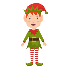 happy merry christmas elf character vector illustration design