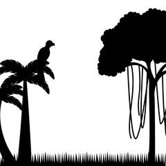 silhouette of tree and palm with macaw bird over white background. brazil culture design. vector illustration