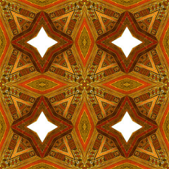 Abstract seamless vintage wooden pattern with red, brown and orange stars. Kaleidoscopic ornamental inlaid pattern with wooden texture