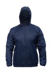 blue windbreaker sports jacket with hood, isolated on white