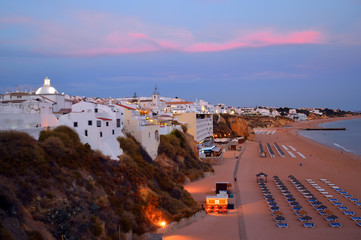 Picturesque sky over Albufeira beach
