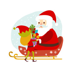 Girl Elf gives gift boxes Santa Claus. Vector character