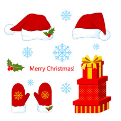 Santa Claus red hat  and mittens silhouette, box with gifts vector illustration isolated on background. Happy New Year symbol decoration. Merry Christmas clothes holiday elements