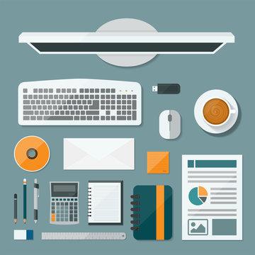Top view computer of desk background, Flat vector design