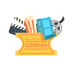 ticket cinema reel pop corn and clapper