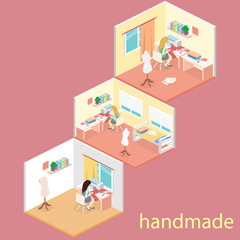 woman sews on the sewing machine. Isometric room interior.
