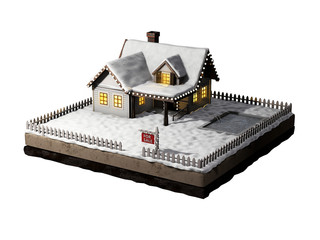 Home for sale realestate sign. Snow-covered cottage on a piece of earth. Christmas cabin at night. 3D illustration.