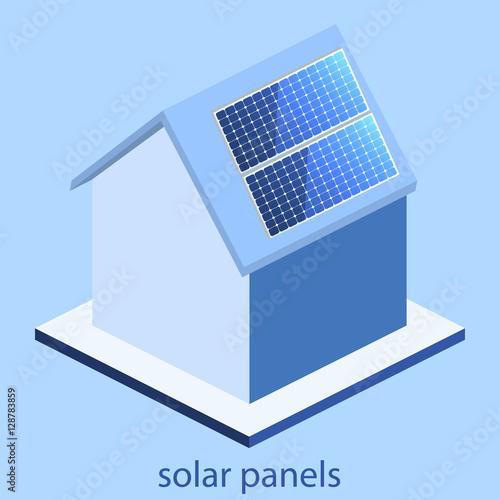 "Isometric flat 3D vector outside solar panels on house"" Stock image ..."