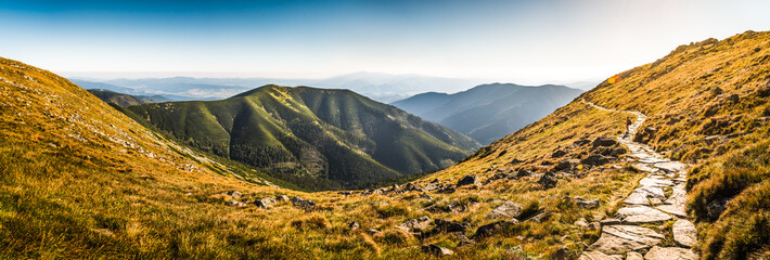 Rocky Hiking Trail in the Mountains on Sunny Day. Low Tatras Ridge, Slovakia.