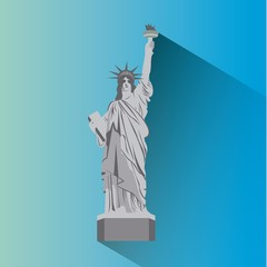 liberty statue monument of new york city. colorful design. vector illustration