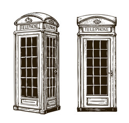 Hand drawn London phone booth. Sketch vector illustration