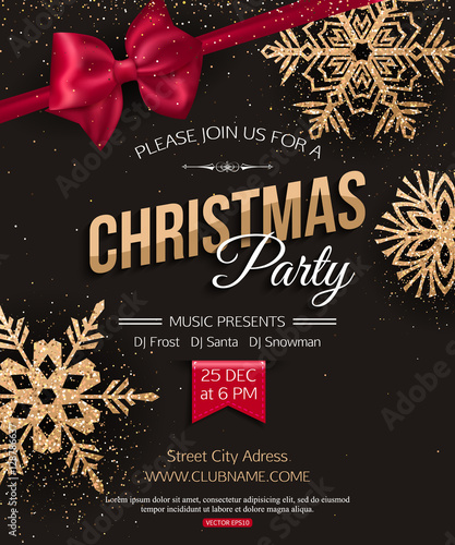 Christmas Party Poster.Merry Christmas Party Poster Stock Image And Royalty Free
