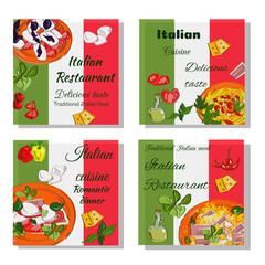 Italian food design template. Square banners set. Italian Cuisine restaurant menu. Vector drawn banners.