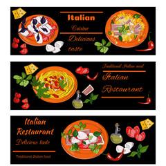 Italian food vintage design template. Horizontal vector banners set. Italian Cuisine restaurant menu.