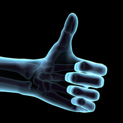 Like Thumbs Up Symbol in Blue Neon 3D