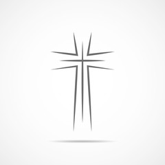 Black christian cross icon. Vector illustration.
