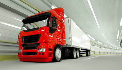 red truckin a tunnel. fast driving. 3d rendering.