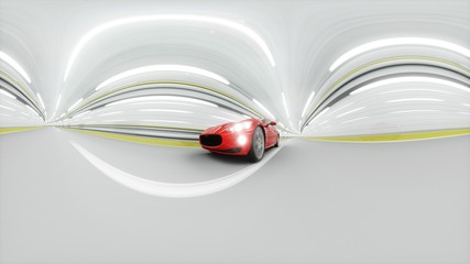 360 degrees panorama. red sport car in a tunnel. fast driving. oil concept. 3d rendering.
