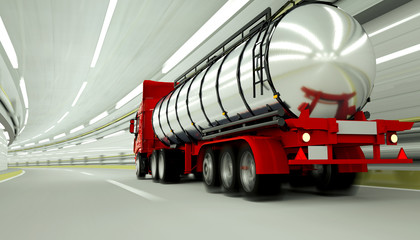 red Gasoline tanker in a tunnel. fast driving. oil concept. 3d rendering.