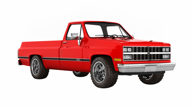 Red pickup truck without shadow perspective view on white 3d