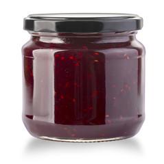 Strawberry jam jar isolated
