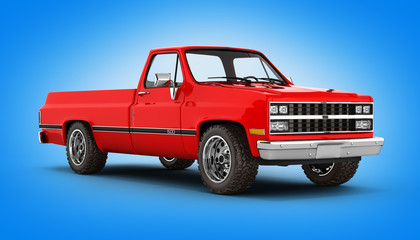 Red pickup truck perspective view on blue background 3d
