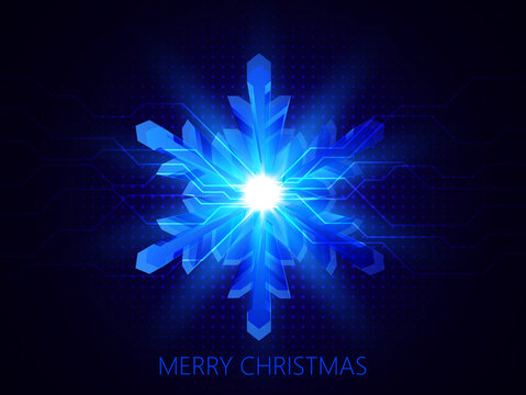 Christmas background in technology style. Vector Illustration