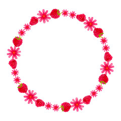 Round bright watercolor hand drawn wreath with flowers and strawberries