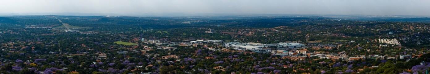 Wide Panorama overlooking Cresta Johannesburg surrounded by purple Jacaranda trees