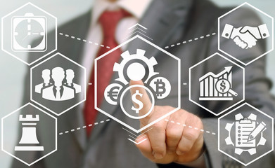 Businessman presses cost optimization icon. Button gear with currency coin dollar bitcoin eur. A man selecting a Costs Optimizations business concept button on a virtual screen. Control plan teamwork.
